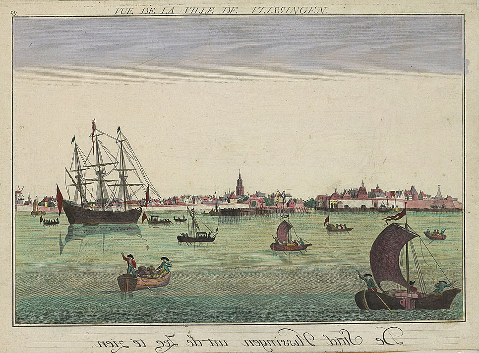 Gravure, opticaprent, ingekleurd, 1749-1751, 31x44 cm. Zeeuws Archief, Zelandia Illustrata II-1157.
